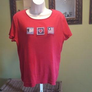 Croft & Barrow red t shirt USA flag size medium
